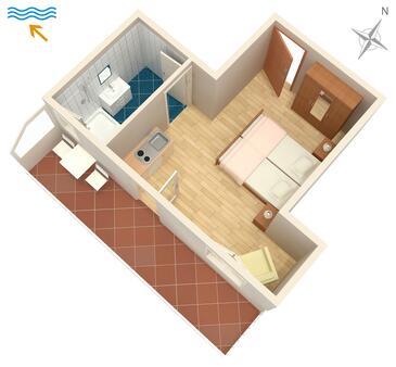Žuljana, Nacrt u smještaju tipa studio-apartment, kućni ljubimci dozvoljeni i WiFi.
