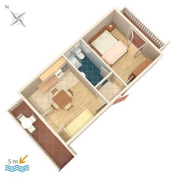 Okrug Gornji, Půdorys v ubytování typu apartment, dopusteni kucni ljubimci i WIFI.