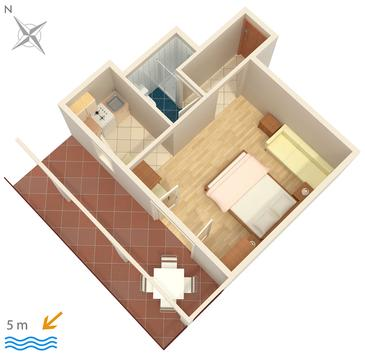 Okrug Gornji, Plan in the studio-apartment, dopusteni kucni ljubimci i WIFI.
