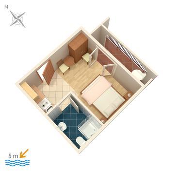 Okrug Gornji, Plan kwatery w zakwaterowaniu typu studio-apartment, dopusteni kucni ljubimci i WIFI.