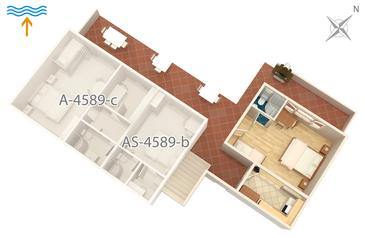 Jelsa, Plan in the studio-apartment, WIFI.