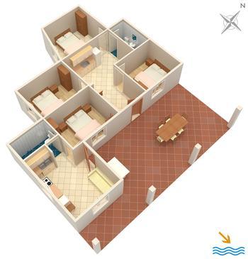 Girna Luka, Plan kwatery w zakwaterowaniu typu house.