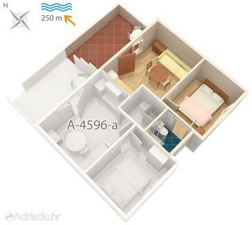 Zaraće (Gdinj), Pôdorys v ubytovacej jednotke apartment, WiFi.