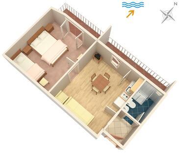 Jelsa, Plan in the apartment, dopusteni kucni ljubimci i WIFI.