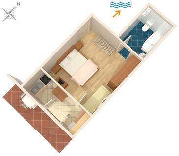 Jelsa, Půdorys v ubytování typu apartment, domácí mazlíčci povoleni a WiFi.