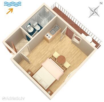 Jelsa, Načrt v nastanitvi vrste studio-apartment, Hišni ljubljenčki dovoljeni in WiFi.