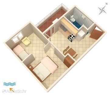 Pokrivenik, Půdorys v ubytování typu apartment, WiFi.