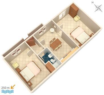 Hvar, Plan in the apartment.