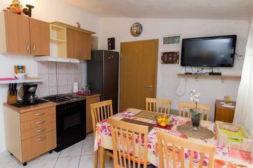 Grebaštica, Dining room in the apartment, dostupna klima, dopusteni kucni ljubimci i WIFI.