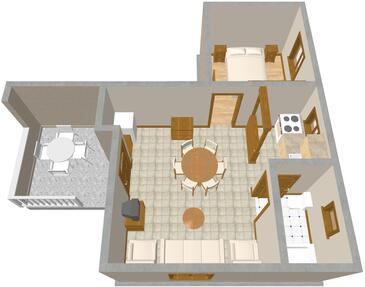 Jadrija, Plan kwatery w zakwaterowaniu typu apartment.