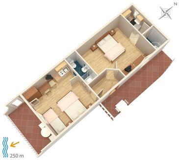 Duće, Plan kwatery w zakwaterowaniu typu apartment, WIFI.