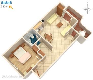 Vrboska, Plan in the apartment, dopusteni kucni ljubimci.