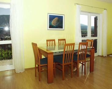 Jelsa, Dining room in the studio-apartment, dopusteni kucni ljubimci i WIFI.