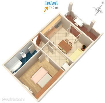 Mastrinka, Půdorys v ubytování typu apartment, domácí mazlíčci povoleni a WiFi.
