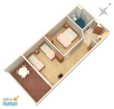 Duće, Plan in the apartment.