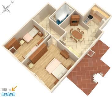 Stanići, Plan kwatery w zakwaterowaniu typu apartment, WIFI.