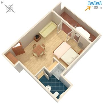 Omiš, Plan in the studio-apartment, dopusteni kucni ljubimci i WIFI.