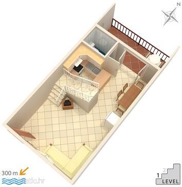 Bol, Půdorys v ubytování typu apartment, domácí mazlíčci povoleni a WiFi.