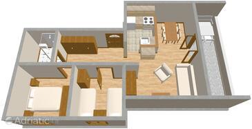 Žaborić, План в размещении типа apartment, Домашние животные допускаются и WiFi.