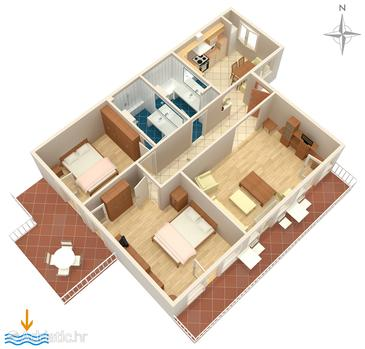 Dubrovnik, Grundriss in folgender Unterkunftsart apartment, dopusteni kucni ljubimci i WIFI.