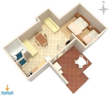 Dubrovnik, Plan in the studio-apartment, dopusteni kucni ljubimci i WIFI.
