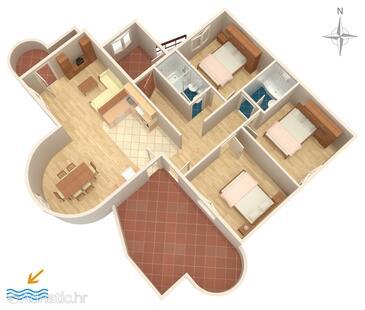 Pirovac, План в размещении типа apartment, WiFi.