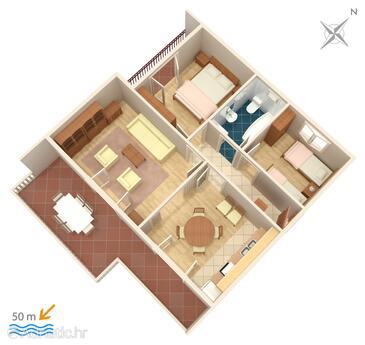 Grebaštica, Plan in the apartment, WiFi.