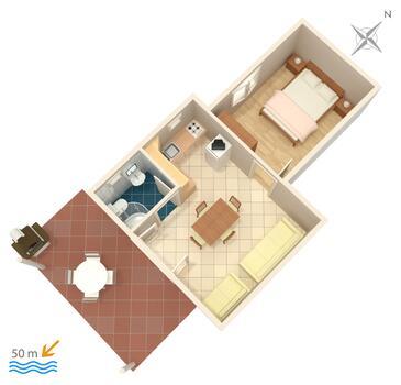 Grebaštica, Plan in the apartment, dopusteni kucni ljubimci i WIFI.