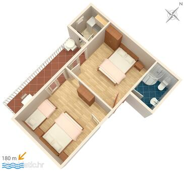Podaca, plattegrond in the apartment, (pet friendly) en WiFi.
