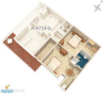 Podaca, Půdorys v ubytování typu apartment, domácí mazlíčci povoleni a WiFi.