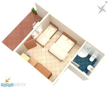 Podaca, Grundriss in folgender Unterkunftsart studio-apartment, Haustiere erlaubt und WiFi.