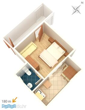Podaca, Plan in the studio-apartment, dopusteni kucni ljubimci i WIFI.