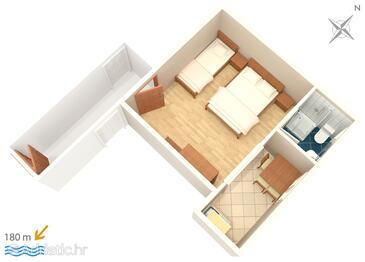 Podaca, План в размещении типа studio-apartment, Домашние животные допускаются и WiFi.