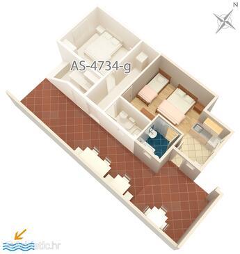 Podaca, Nacrt u smještaju tipa studio-apartment, kućni ljubimci dozvoljeni i WiFi.