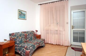 Mlini, Pokój dzienny w zakwaterowaniu typu studio-apartment, dopusteni kucni ljubimci i WIFI.
