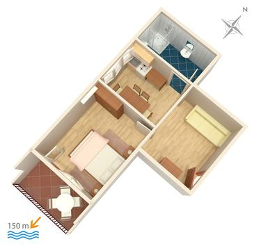 Duće, Plan kwatery w zakwaterowaniu typu apartment, dopusteni kucni ljubimci i WIFI.