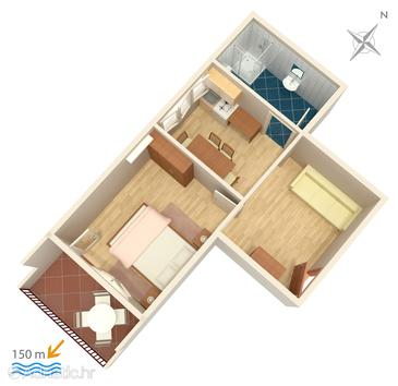 Duće, Plan in the apartment, (pet friendly) and WiFi.