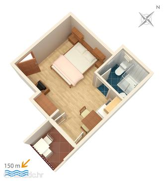 Duće, Plan in the studio-apartment, (pet friendly) and WiFi.