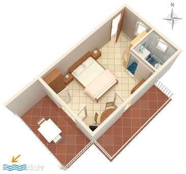 Selce, План в размещении типа studio-apartment, WiFi.