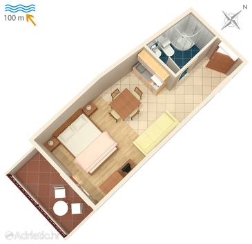 Drašnice, Plan in the studio-apartment, WIFI.