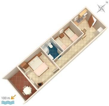 Pisak, Plan kwatery w zakwaterowaniu typu apartment, WIFI.