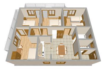 Grebaštica, Plan kwatery w zakwaterowaniu typu apartment, WIFI.