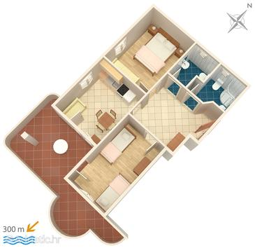 Lokva Rogoznica, Grundriss in folgender Unterkunftsart apartment, Haustiere erlaubt und WiFi.