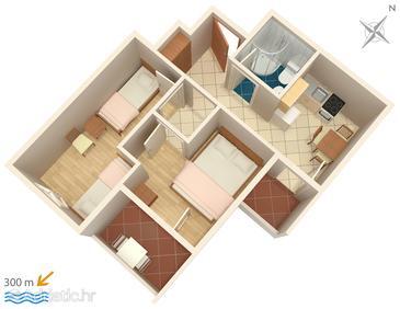 Lokva Rogoznica, Nacrt u smještaju tipa apartment, kućni ljubimci dozvoljeni i WiFi.