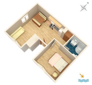 Primošten, Půdorys v ubytování typu apartment, WIFI.