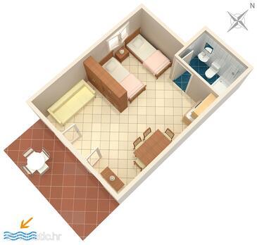 Nemira, Plan in the studio-apartment, WiFi.