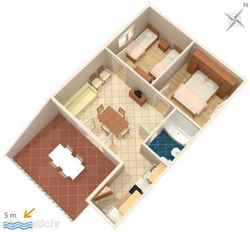 Zečevo Rtić, Plan in the apartment, WiFi.