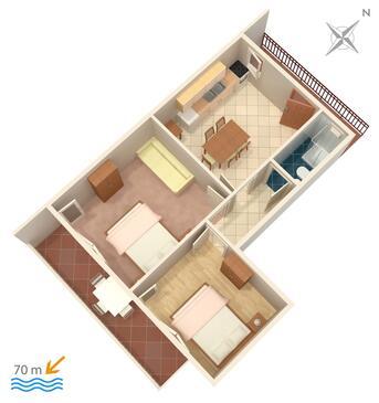 Marina, Plan kwatery w zakwaterowaniu typu apartment.