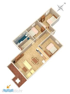 Podstrana, Schema nell'alloggi del tipo apartment, animali domestici ammessi e WiFi.
