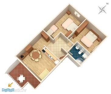 Podstrana, Alaprajz szállásegység típusa apartment, háziállat engedélyezve és WiFi .